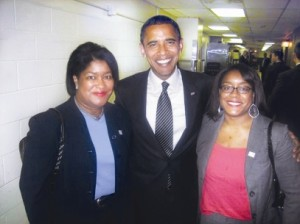 Danielle with Mom and President Obama